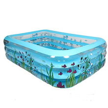 High Quality Adult Family Children's Inflatable Swimming Pool Home Use Printed Rectangular Pool Paddling Pool Size 196*143*60cm(China)