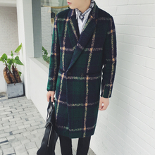 2017 Autumn and Winter Fashion Runway Style Men Classic Retro Vintage Green Big Grid Outerwear Coat Men's coat Men Plaid Wool