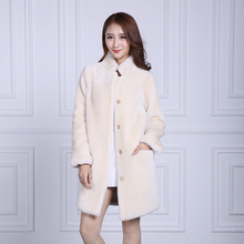womens natural shearling genuine thick shearing Sheep skin fur coat 2017 winter long outerwear trench coats female clothing