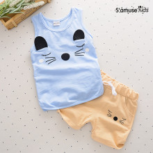 Baby Boys Clothes Cute Cartoon Cat Kids Clothing Set Cotton Summer Children Sleeveless Vest + Shorts Pants Newborn Toddler(China)