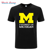 2016 new Michigan University American Letter printing jersey clothing fashion short sleeve t shirt tee top(China)