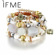 Buy IF ME Bohemian Geometric Multilayer Charm Bracelets Women Beads Bracelets & Bangles Statement Party Ethnic Jewelry Gift for $2.11 in AliExpress store