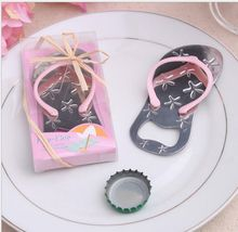 Flip flop wine bottle opener with starfish design 100PCS/LOT wedding favor guest gift pink DHL free shipping(China)