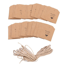 100pcs Made with Love Sign Paper Kraft Paper Tags Head Label Luggage Wedding Party Note DIY Blank Price Hang tag Kraft Gift Hang