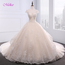 Buy Melice Scoop Neck Appliques Beaded Chapel Train Ball Gown Wedding Dress 2018 Short Sleeve Lace Princess Bride Robe De Mariage for $271.19 in AliExpress store