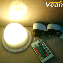 6PCS DHL Free Shipping 120mm Waterproof ip68 rgb cordless furniture lighting with remote control and 16 colors change