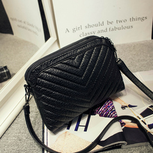 Autumn new collection soft PU leather women shoulder bag korean style V line small flap messenger bag all match simple bag