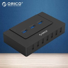 ORICO 10 Ports USB HUB with Power Adapter High Speed USB 2.0/3.0 Splitter Adapter for PC LaptopNotebook-Black(H9910-U3)(China)