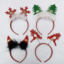 2017 New Cute Christmas Headband Ox Horn Snowflake Tree Hair Band For Kids Adults Hair Accessories Xmas Party Supplies