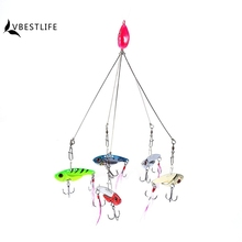 5 PCS New Multi Arms Umbrella Rig Fishing Lures shoal Fish Group Mixed Lure Bait extend hooks Swivel Jigs Bass Barrel