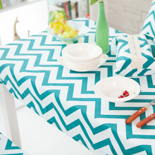 2016 New Arrival High Quality Brand Door Lucky Cotton Twill Table Cloth Blue Striped Table Cloth