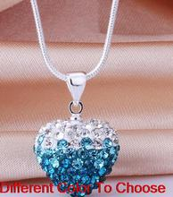 micro pave multicolor rhinestone heart Silver Plated 16inch snake chain gradual change Crystal Shamballa Necklace gift lot