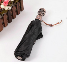 New Fashion  Male Guarda Chuva Unique Men Gold Coating Folding Sunny Anime Umbrellas Skull Design Black Blue Umbrella