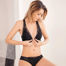 Sexy Lace Wireless Open Bras Set For Women Push Up A B C Cup Embroidery Plus Size Underwear Set Bra and Panty Set(China)