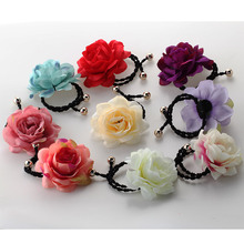 New Korea Bohemia Fabric Flower Scrunchie Children Hair Accessories Headwear Elastic Hair Band  For Girls&Women 1PC