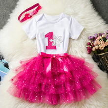 Baby Clothing Sets Baby Girl First Year Birthday Party Dress Tutu Rose Cake Smash Outfits Kids Summer Clothes For Girl 12 Months