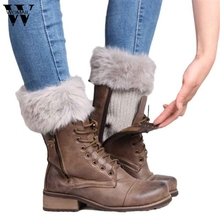 1 Pair Women Faux Fur Crochet Knitted Leg Warmer Boot Cuffs Winter Warm Boot Socks Amazing Jul 15(China)