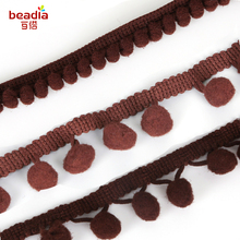 Dark Brown 5Yards/Lot Pompom Trim Pom Pom Lace Decoration Tassel Ball Fringe Ribbon Apparel Sewing Accessories 10-20mm