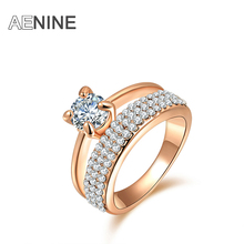 AENINE Classic AAA Cubic Zirconia Finger Rings Pave Setting Austrian Crystal Rose Gold Color Wedding Rings Jewelry R150290250R