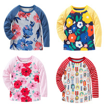 New 2017 Brand 100% Cotton Baby Girls t shirts Kids Clothing Clothes Children Long Sleeve t-shirt Girls Blouse Undershirts Girls(China)