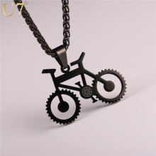 U7 Bicycle Necklace Black Color Stainless Steel Bike Pendants & Chain For Men/Women 2017 Hot Fashion Jewelry Hippie Rock P1028
