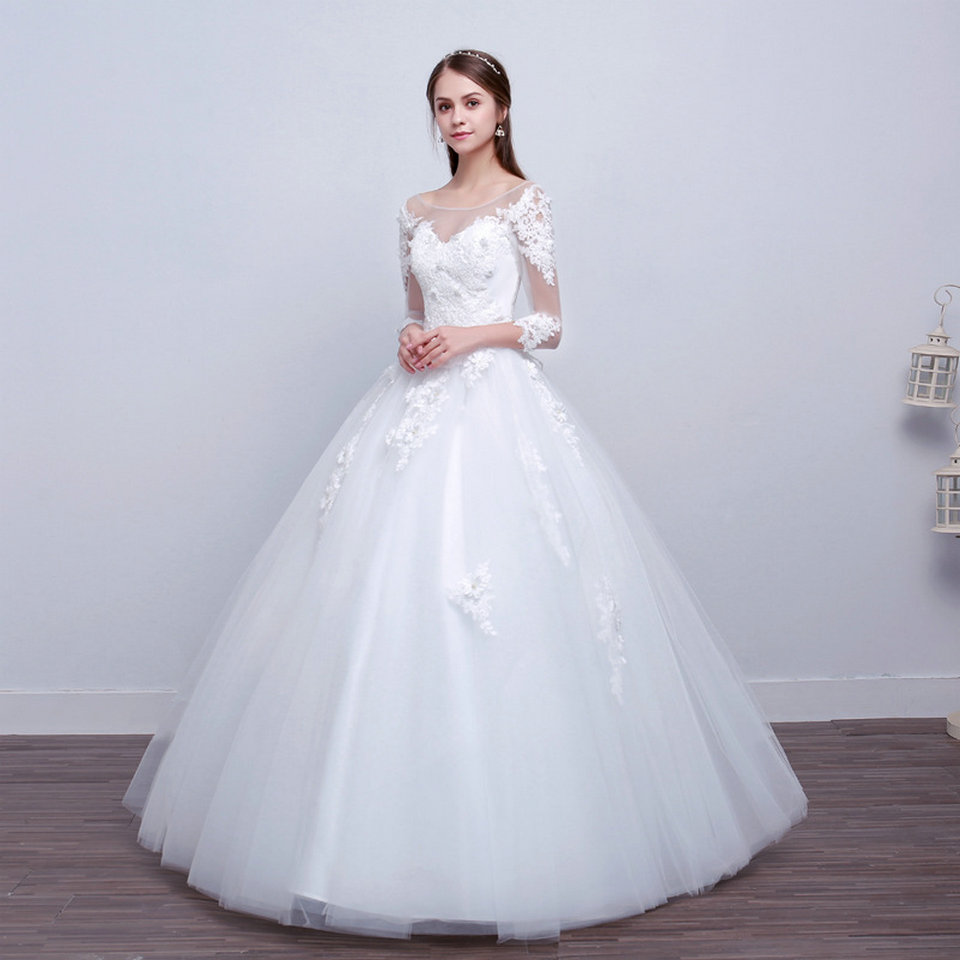 LAMYA Real Photo Princess Elegant Wedding Dresses With Long Lace Sleeve High Quality Ball Gown Bridal Gowns Vestidos De Noiva 8