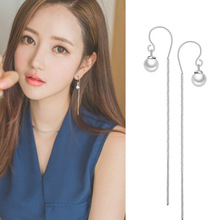 Long Chain Earrings Real 925 Sterling Silver with Imitation Pearls Charm Ear Line Earrings 2017 New Summer Jewelry WES191