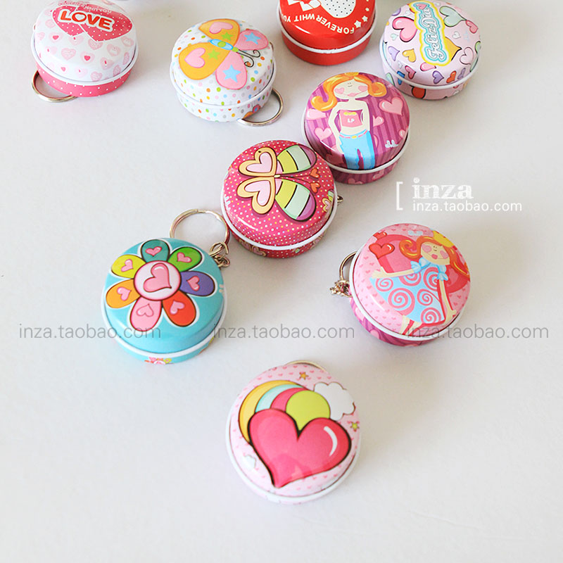 12 Pieces/Lot Cheap Cute Small Candy Boxes Round Metal Tin Box Coins t Sorage Box Tea Container Wholesale Free Shipping