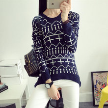 2015 New Fashion Christmas Sweater Women Cross Print Red Black White Long Sleeve Woollen Crochet Pullovers Sweater