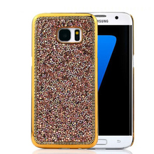 Girly Pure Handmade Shiny Diamond Case For Samsung Galaxy S7 / S 7 Edge Bling Gold Sliver Sequin Back Phone Cover Accessories