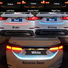 Ice Blue Red Yellow White LED Strip Lighting Rear Trunk Tail Light Dynamic Streamer Brake Turn Signal Reverse Leds Warning Light