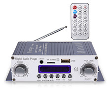 Kentiger HY - 603 Mini Portable Wireless HiFi Stereo Power Digital Amplifier with FM IR Control FM MP3 USB Playback for DC 12V(China)