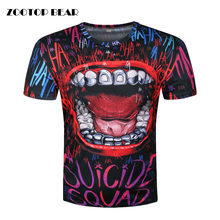 Suicide Squad T-shirt 3D Printed Men T shirt Hip Hop Rock Camisetas Novelty Joker Top Mouth Short Sleeve Summer 2017 ZOOTOP BEAR