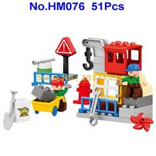 HM076 51pcs City Engineering Construction Team Worker Truck Crane Large Particle Building Block Brick Toy(China)