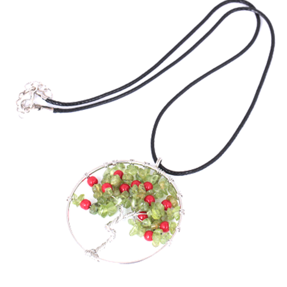 Elegant Cherry Fruit Necklace Red Round Beads Pendant Natural Olivine Stone Tree Life Necklack Black Rope Chain Jewelry