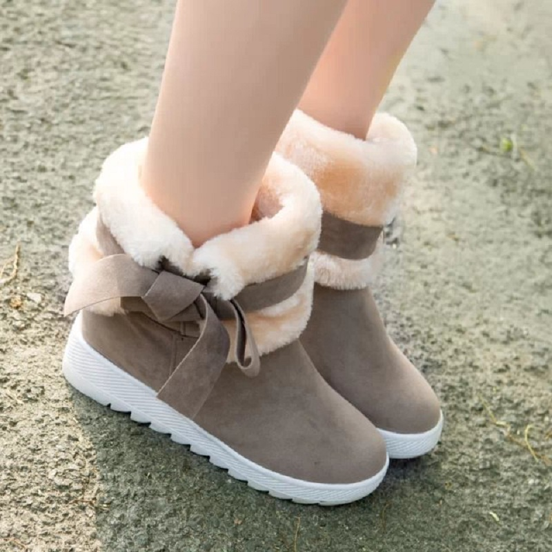 2017 Winter women fashion warm  solid causal ankle boots with fur  thicken suede bows Round Toe boots ST1512<br><br>Aliexpress