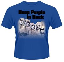 Print Tee Shirts Gildan Design O-Neck Short-Sleeve Deep Purple 'In Rock' T Shirts For Men
