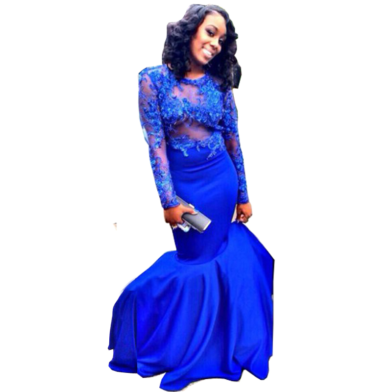 Long Sleeve Lace Royal Blue Prom Dress Promotion-Shop for ...