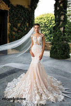 Buy 2018 Cap Sleeve Mermaid Wedding Dresses Sheer Neck Lace Appliques Illusion Bodices Bridal Gowns Wedding Gowns Vestios De Novia for $178.00 in AliExpress store
