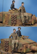Free Shipping 1/35 Scale Unpainted Resin Figure WW2 WSS Tiger Crew 2 figures(China)