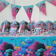 130pc Luxury Trolls Birthday Party set Kids Favors Paper Plates Cups Tableware Straws cap Tablecloth party Set Decor for 12 Kid