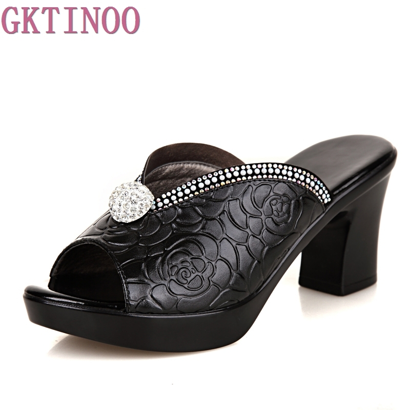 Rhinestone Women sandals comfortable geuine leather thick heels womens casual shoes summer platform sandal<br>