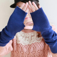 Winter Women's Wool Mitts 40cm 50cm 60cm Fine Wool Fingerless Gloves Long 2017 Thermal Gloves Semi finger Lengthen Arm Warmers(China)