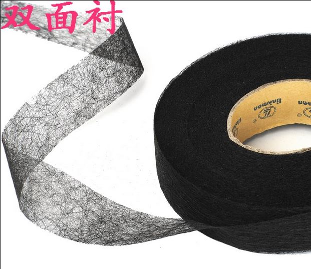 4rolls Nonwoven adhesive interlining Double-sided fusible 1/2/3cm*90yard black white Interlining fabric entretela para costura(China (Mainland))
