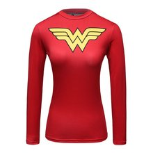 Red Plume Woman's Movie Theme Print American Amazing Hero Running Sport Fitness T-shirt Exercise Tights Longsleeve Top