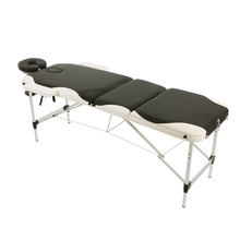 ABODY Portable 3 Fold Therapy Massage Bed Aluminium Frame Soft PU Leather Facial SPA Tattoo Beauty Massage Table Bed Salon Tools