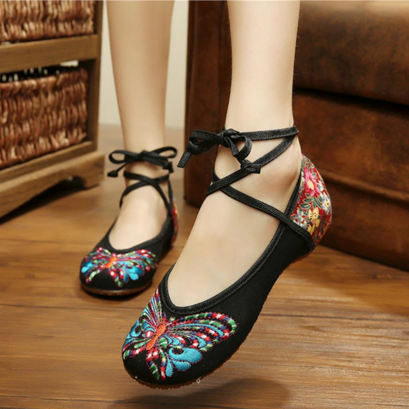 Old Peking Shoes Cotton Cloth Soft Shoes with Flat Heel Old Beijing Comfortable Beautiful Butterfly Design Embroidery Women Shoe<br><br>Aliexpress