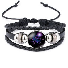 NingXiang Women Fashion 12 Constellation Handmade Leather Bracelets Black Weave Multi Layer Punk Rock 12 Zodiac Charms Jewelry(China)