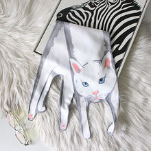 2017 Fashion Silk Scarves Big Size Designer 3D Animals shape Cat Scarf For Women Bags Twilly Scarf/Scarves(China)