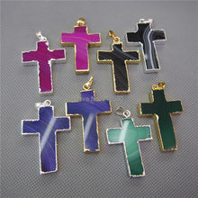 MU150907156 Agates Cross Pendant Charm Gold Color Electroplated(China)